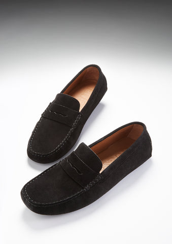 black suede penny driving loafers hugs and co