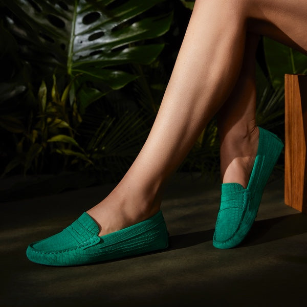 Hugs & Co. emerald green driving loafers