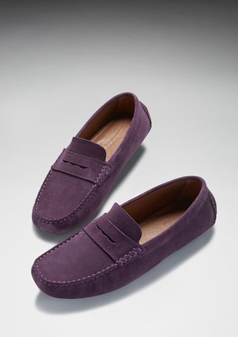 purple suede driving loafers hugs and co