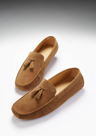 tobacco suede tasselled driving loafers hugs and co
