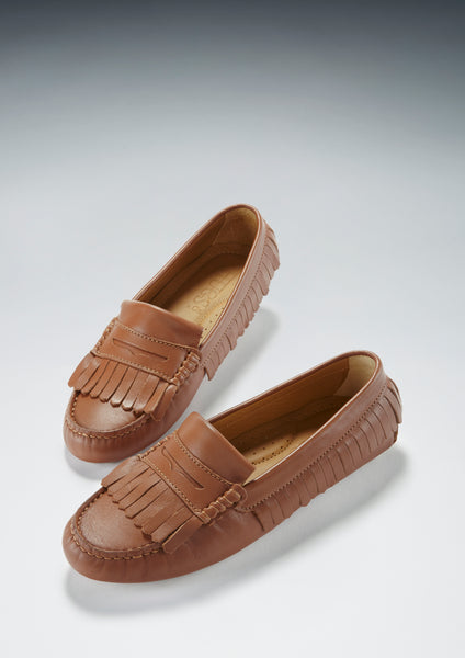 hugs and co tan leather fringed driving loafer