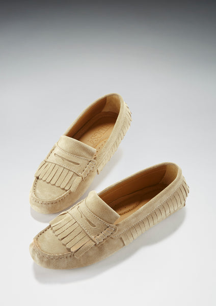 hugs and co taupe suede fringed loafer