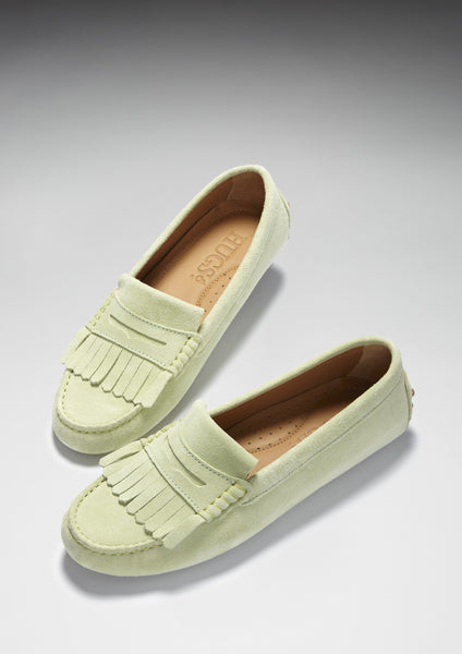 pistachio green driving loafers