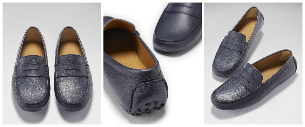 hugs and co blue leather loafer