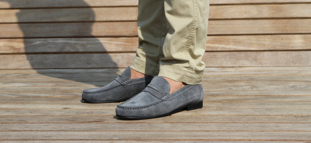 hugs and co leather sole loafers grey
