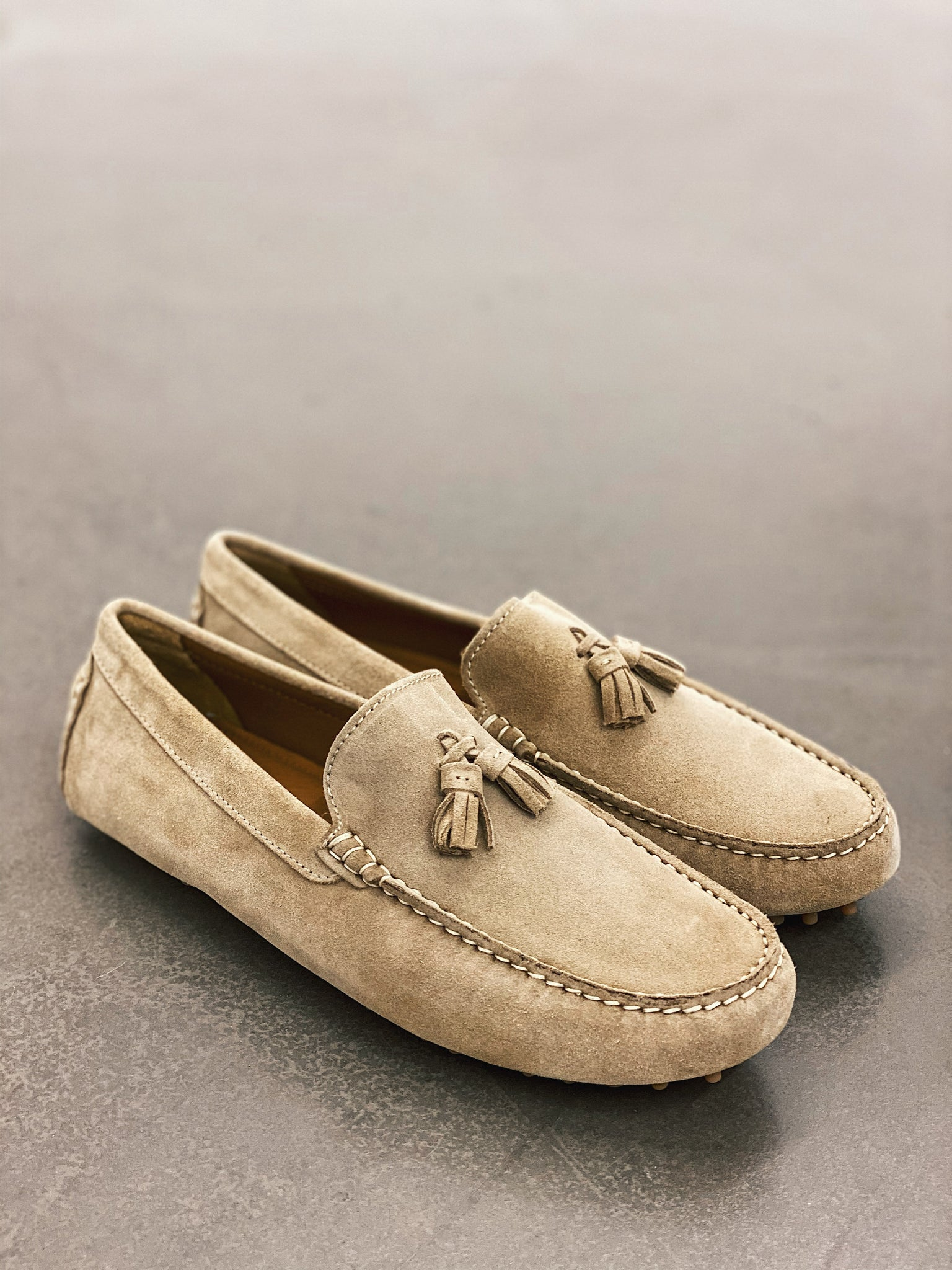 Hugs & Co. taupe suede loafers