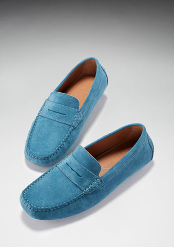 Hugs and co mens driving loafer petrol blue