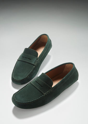 green penny loafer driving shoes hugs and co