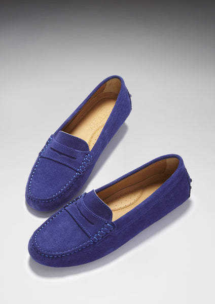 ink blue suede driving loafers hugs and co