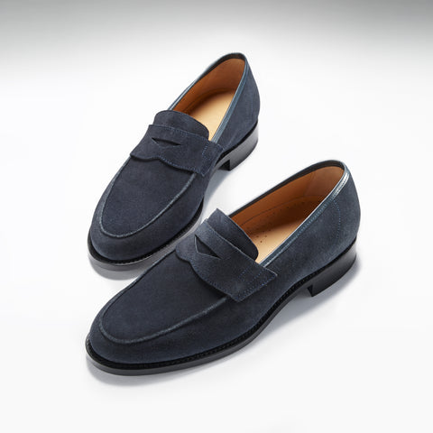 hugs and co blue suede penny loafers