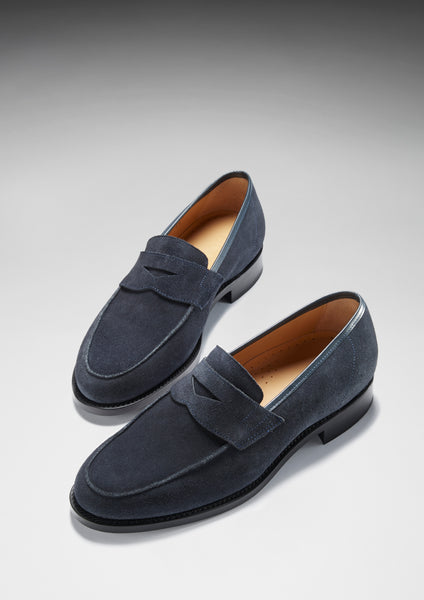blue suede loafers hugs and co