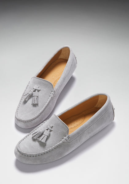 Dove grey suede loafers