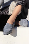 Women's Penny Loafers Leather Sole, slate grey suede