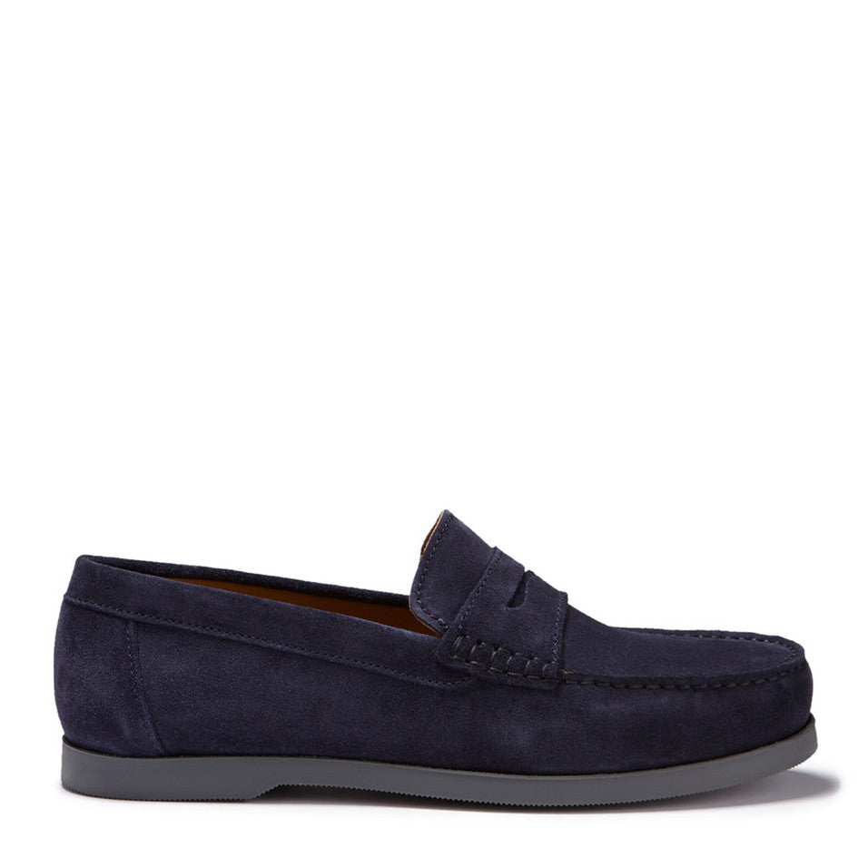 Boat Loafers, navy blue suede