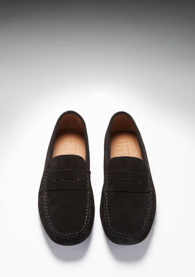Penny Driving Loafers, black suede