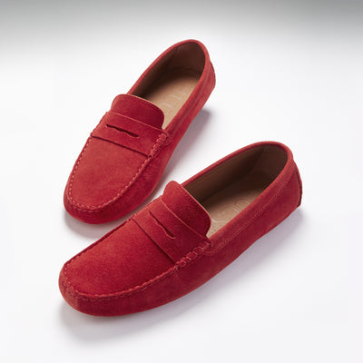 Penny Driving Loafers, red suede