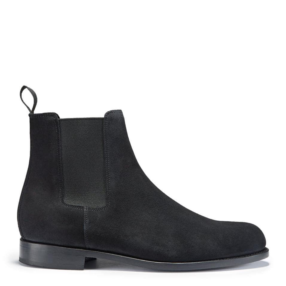 Black Suede Chelsea Boots Side On