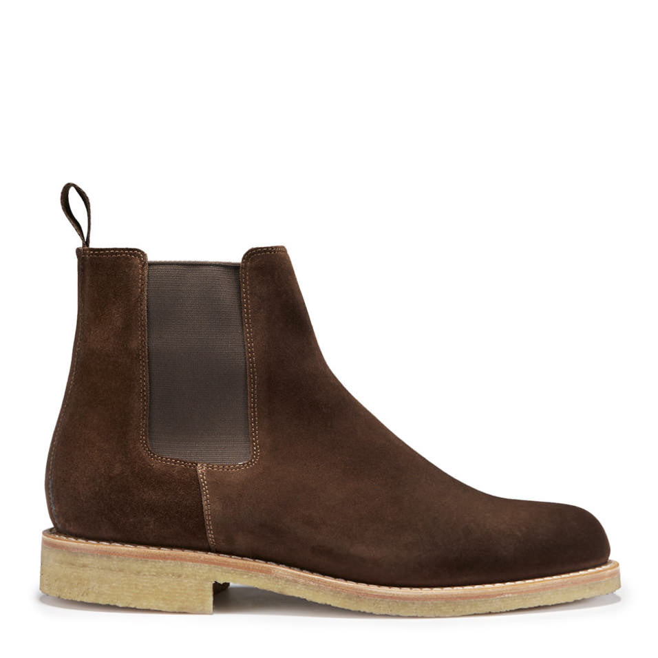 Chelsea Boots Brown Suede Crepe Rubber Sole Side