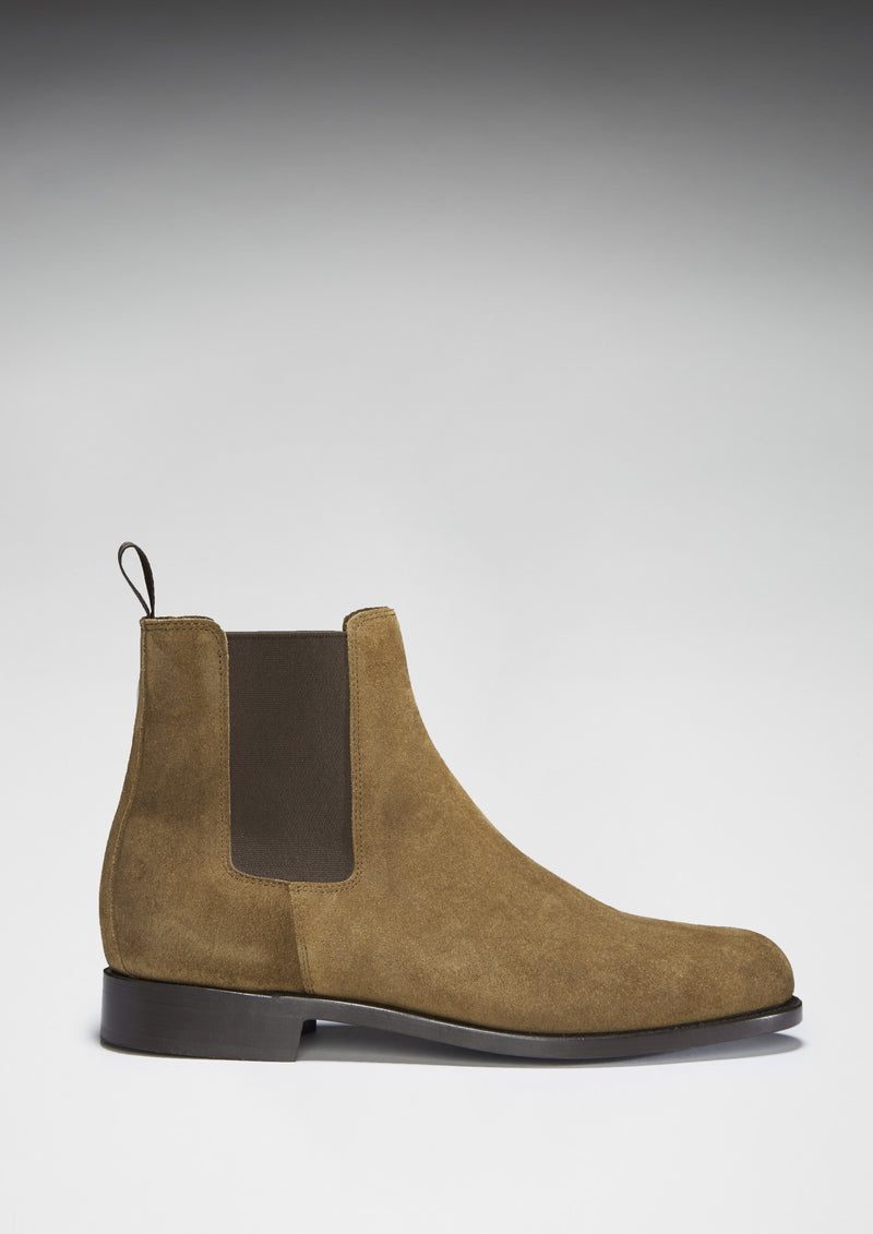 tobacco suede chelsea boots welted leather sole hugs co