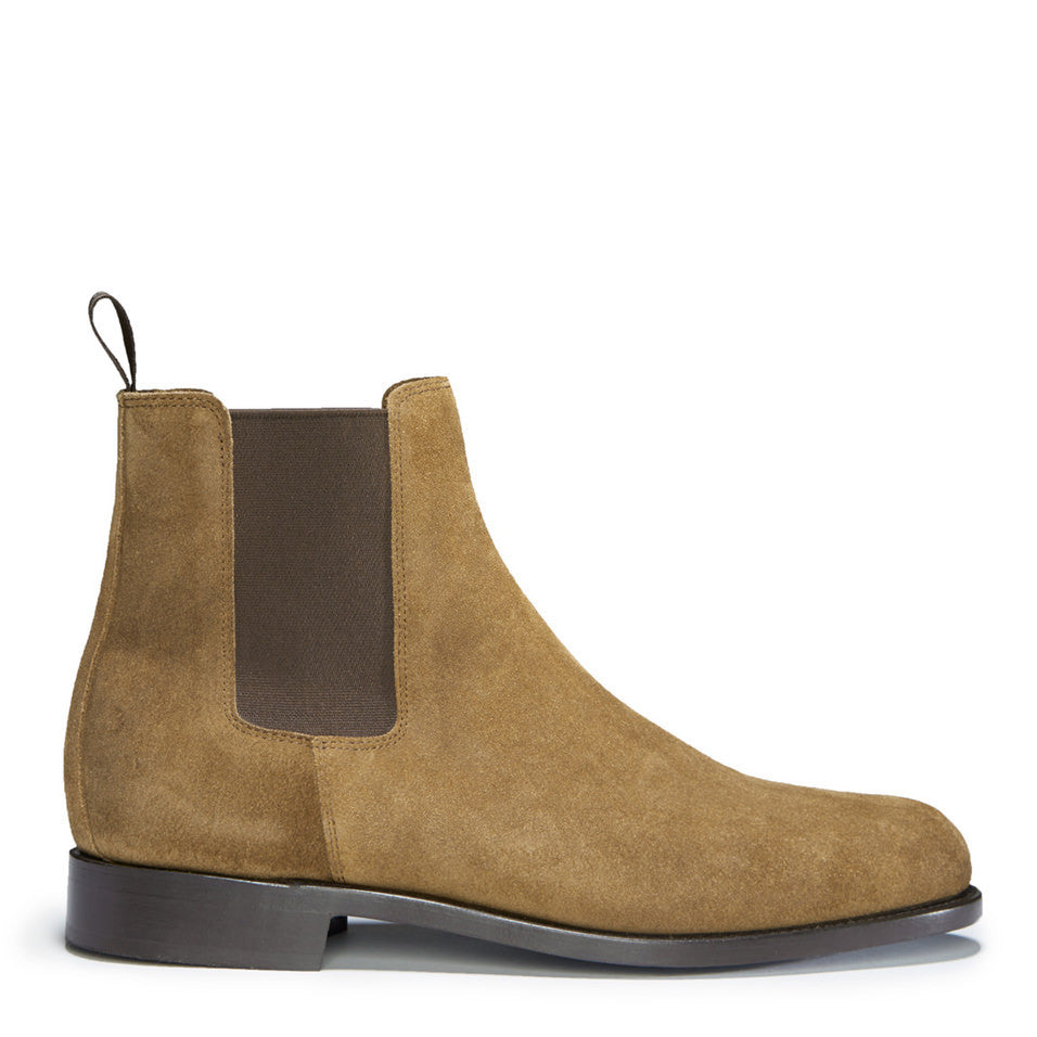Tobacco Suede Chelsea Boots, Welted Leather Sole