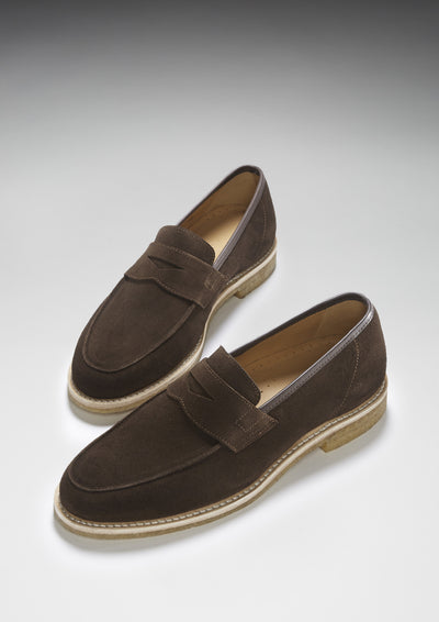 Brown Suede Goodyear Welted Loafers with Crepe Sole