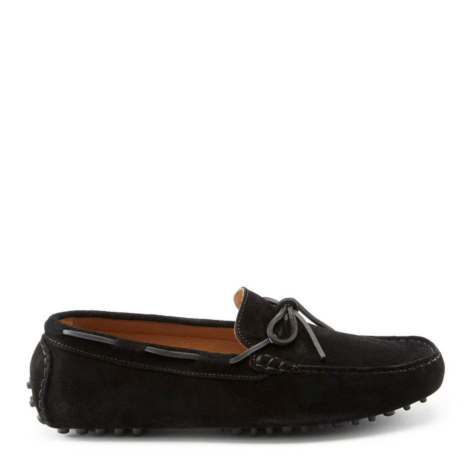 Laced Driving Loafers, Black Suede, Hugs & Co. Side
