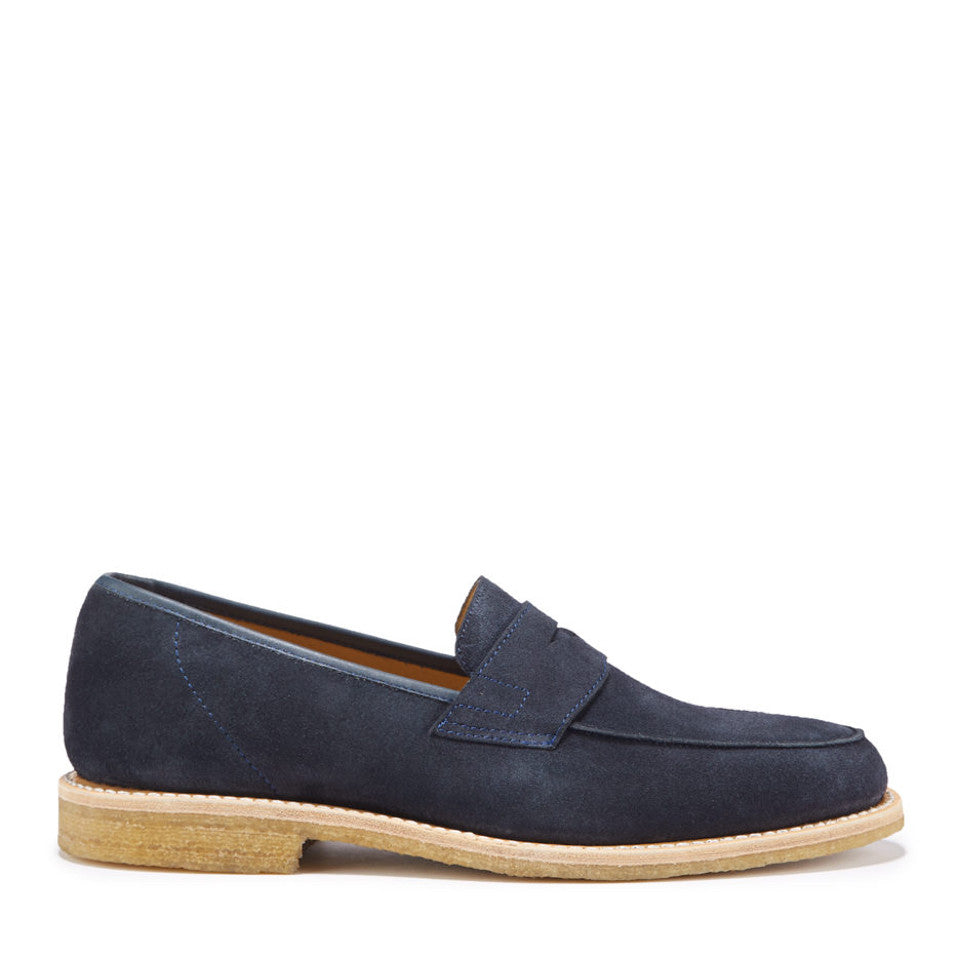 Blue Suede Crepe Loafer Side On