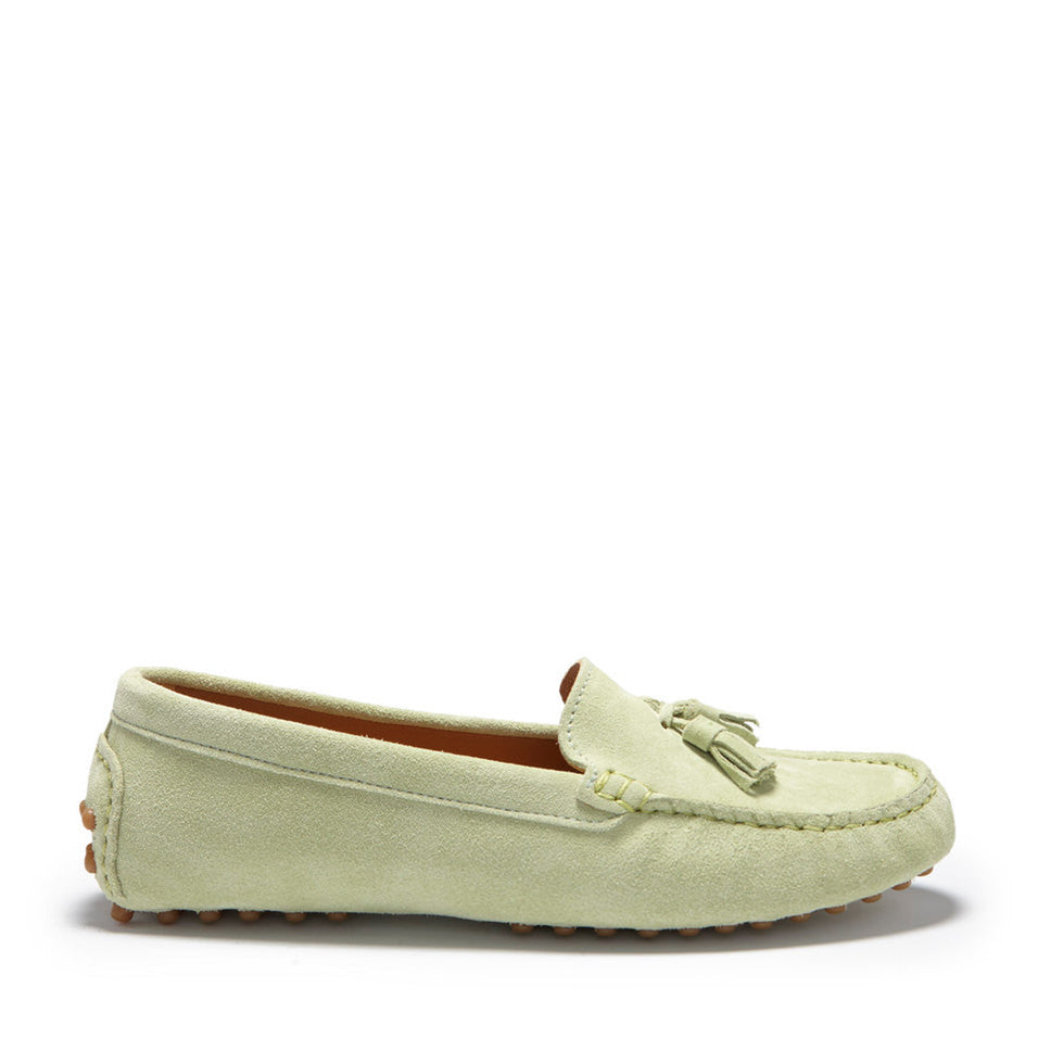 Women's Tasselled Driving Loafers, pistachio suede