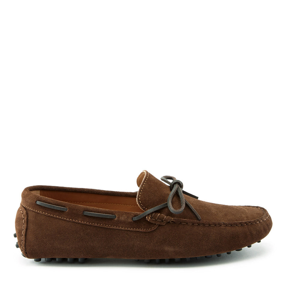 Laced Driving Loafers Brown Suede Side On