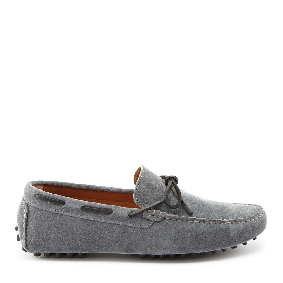 Laced Driving Loafers, slate grey suede