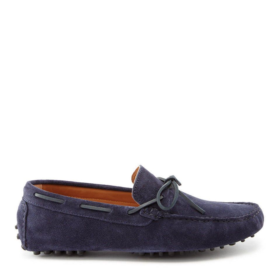 Laced Driving Loafers Navy Suede Side On