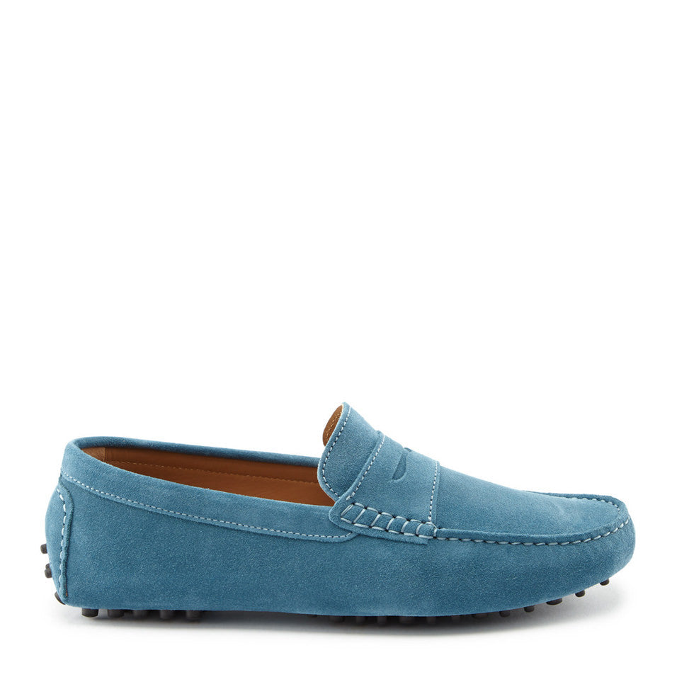 Penny Driving Loafers, petrol blue suede