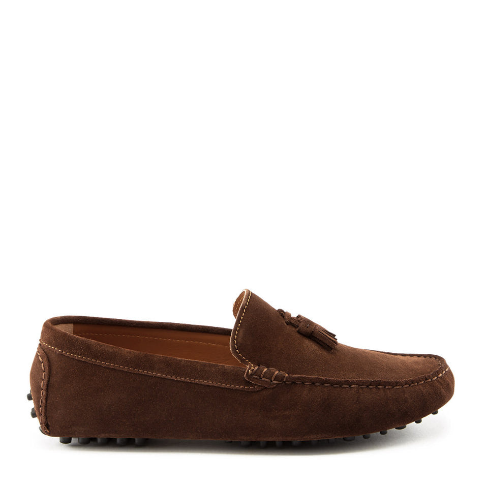 Tasselled Driving Loafers, brown suede