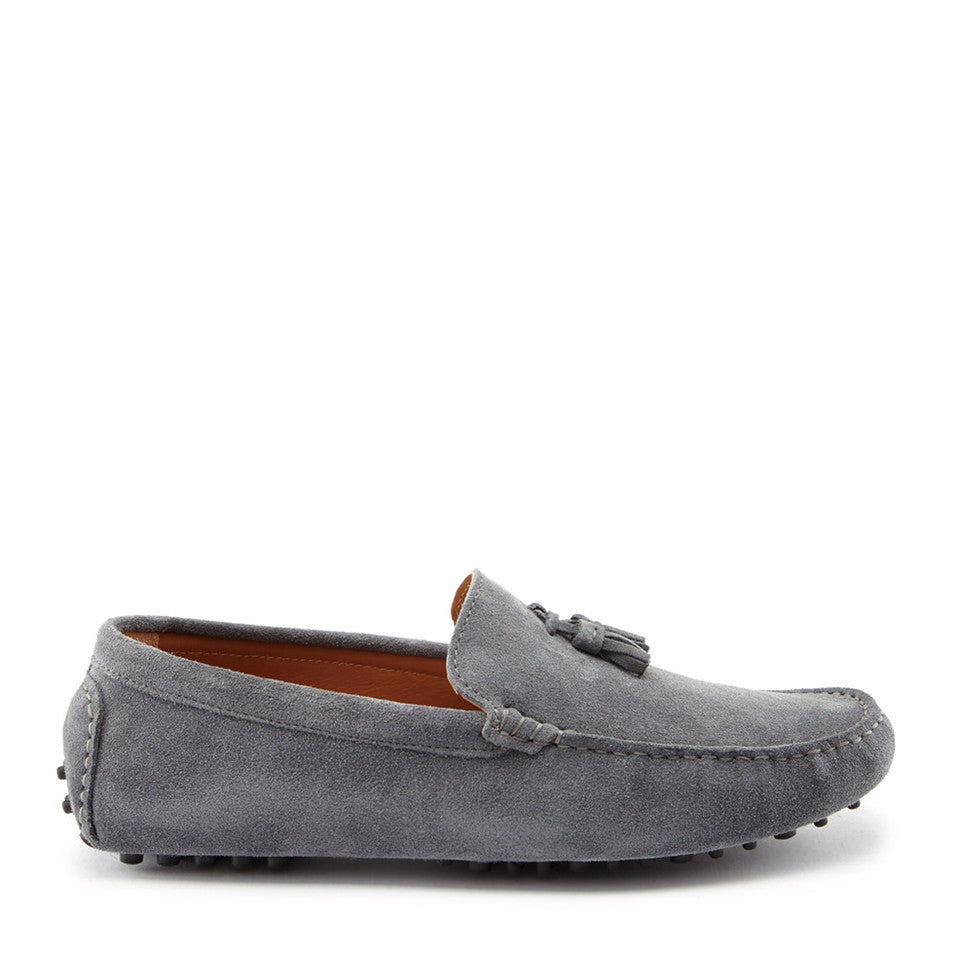 Tasselled Driving Loafers, slate grey suede