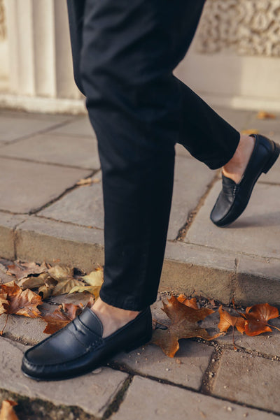 Men's Penny Loafers, black leather
