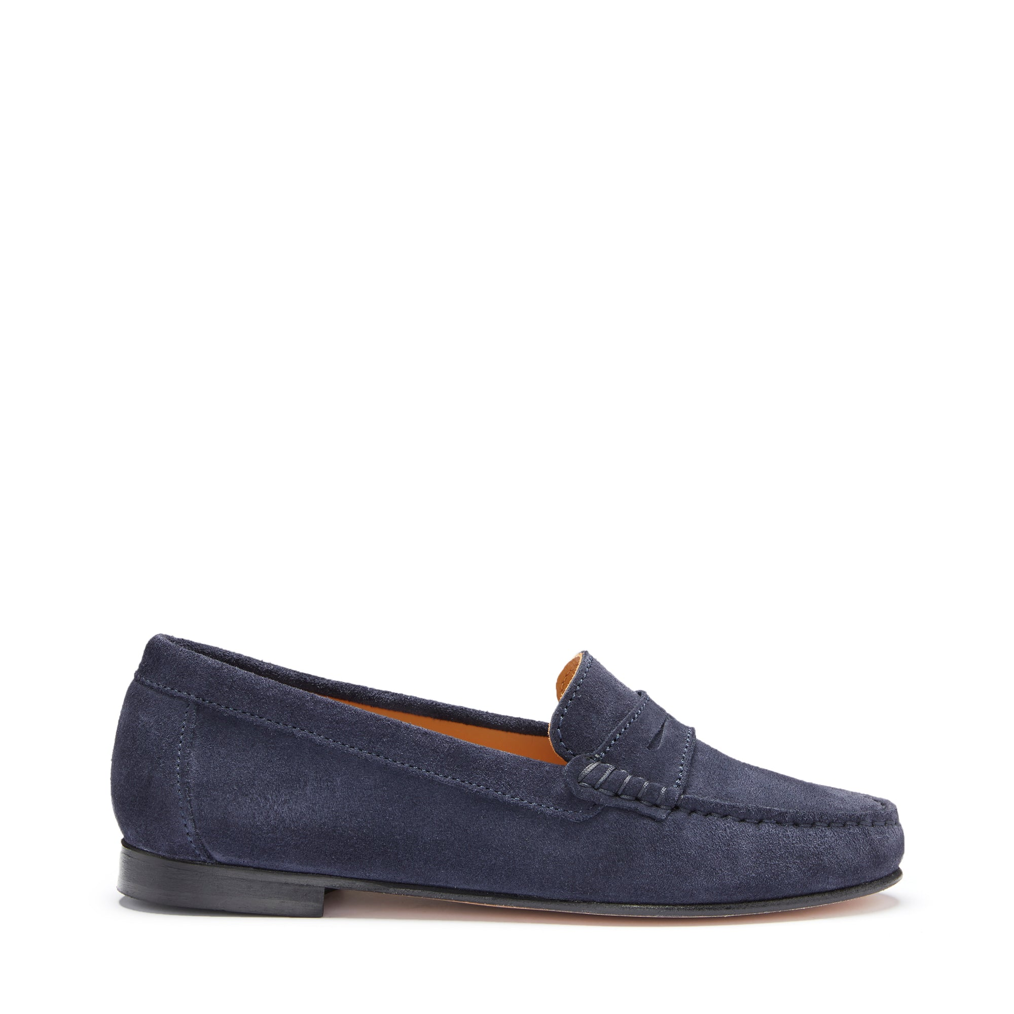 Women's Penny Loafers Leather Sole, navy blue suede