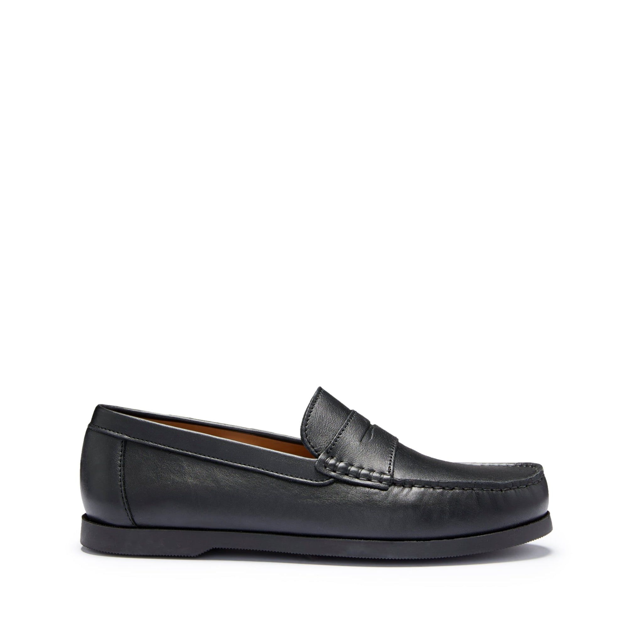 Boat Loafers, black leather