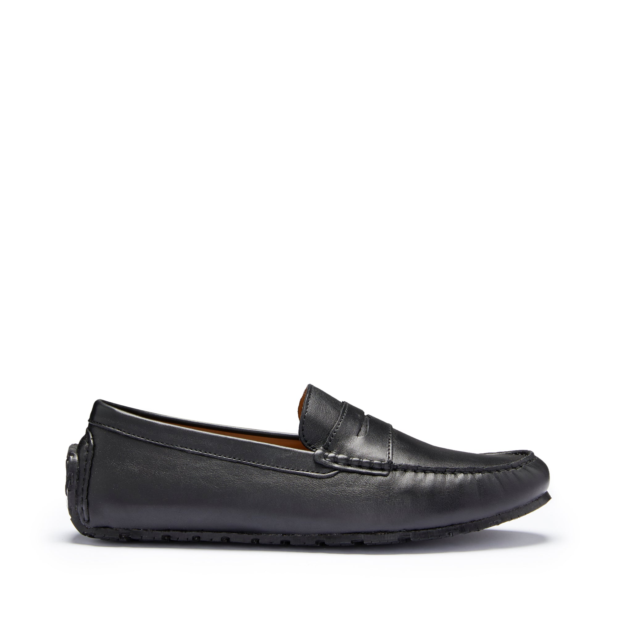 Tyre Sole Penny Driving Loafers, black leather