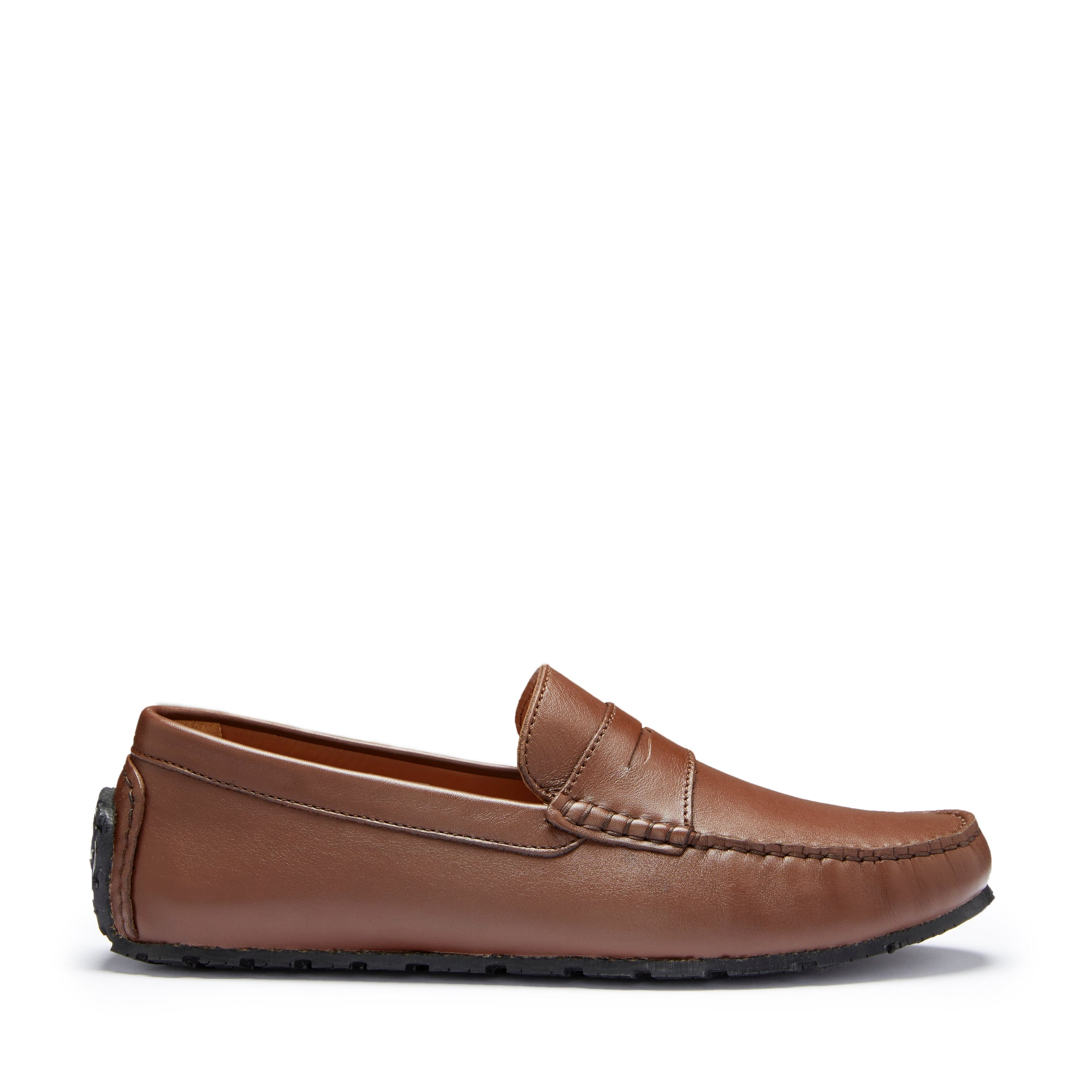 Tyre Sole Penny Driving Loafers, brown leather
