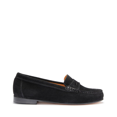 Women's Penny Loafers Leather Sole, black suede