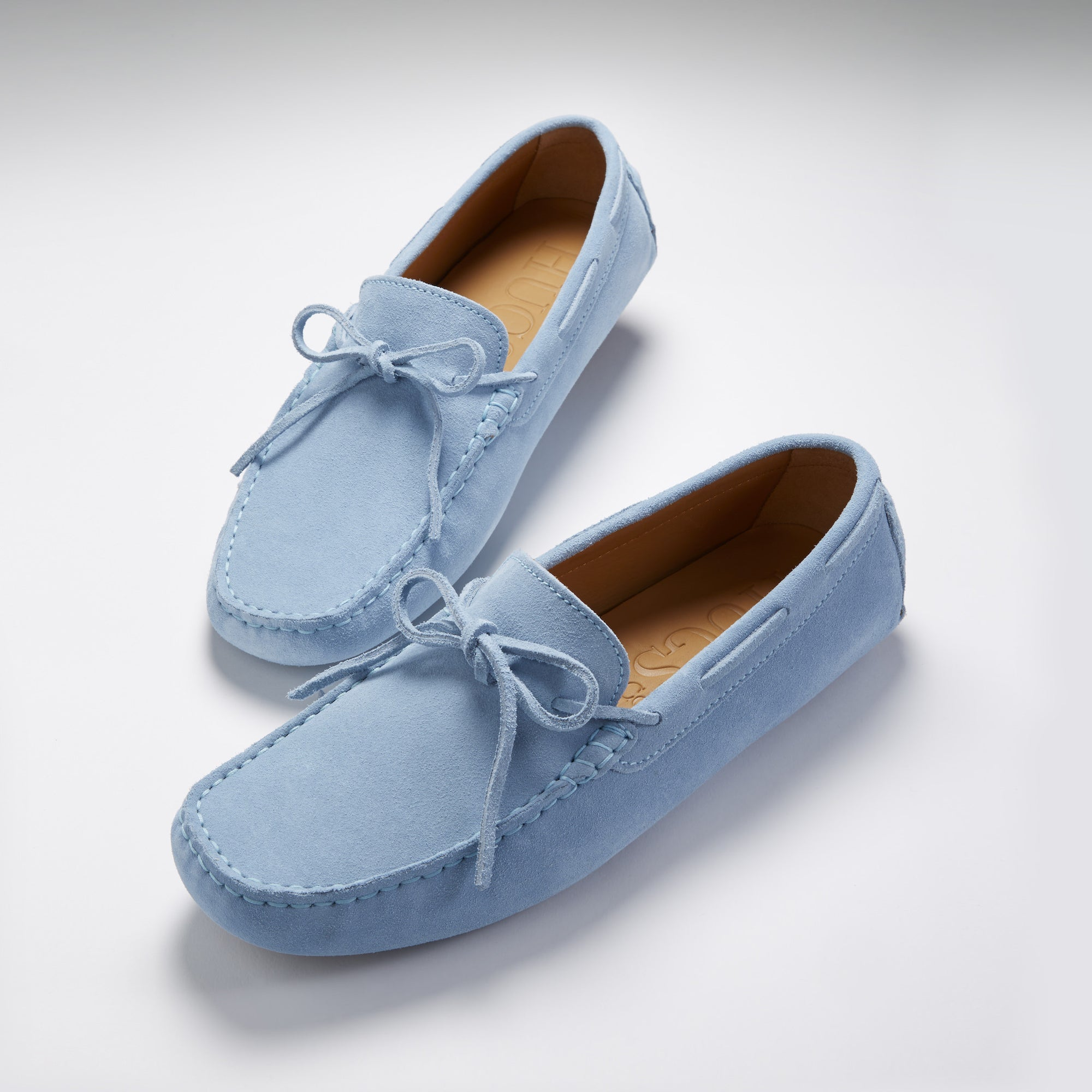 Laced Driving Loafers, sky blue suede