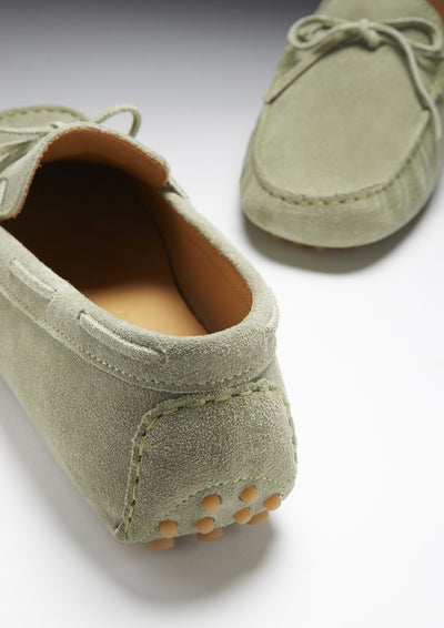 Laced Driving Loafers, olive green suede