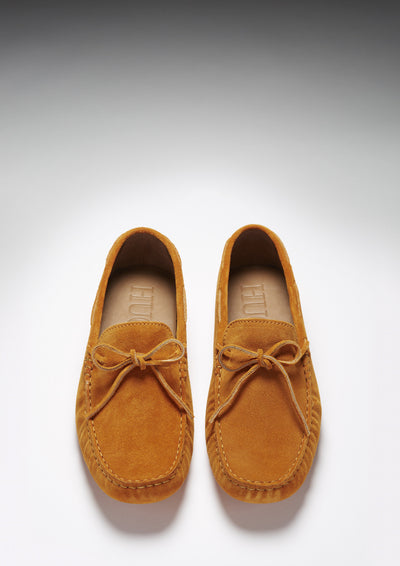 Laced Driving Loafers, burnt orange suede