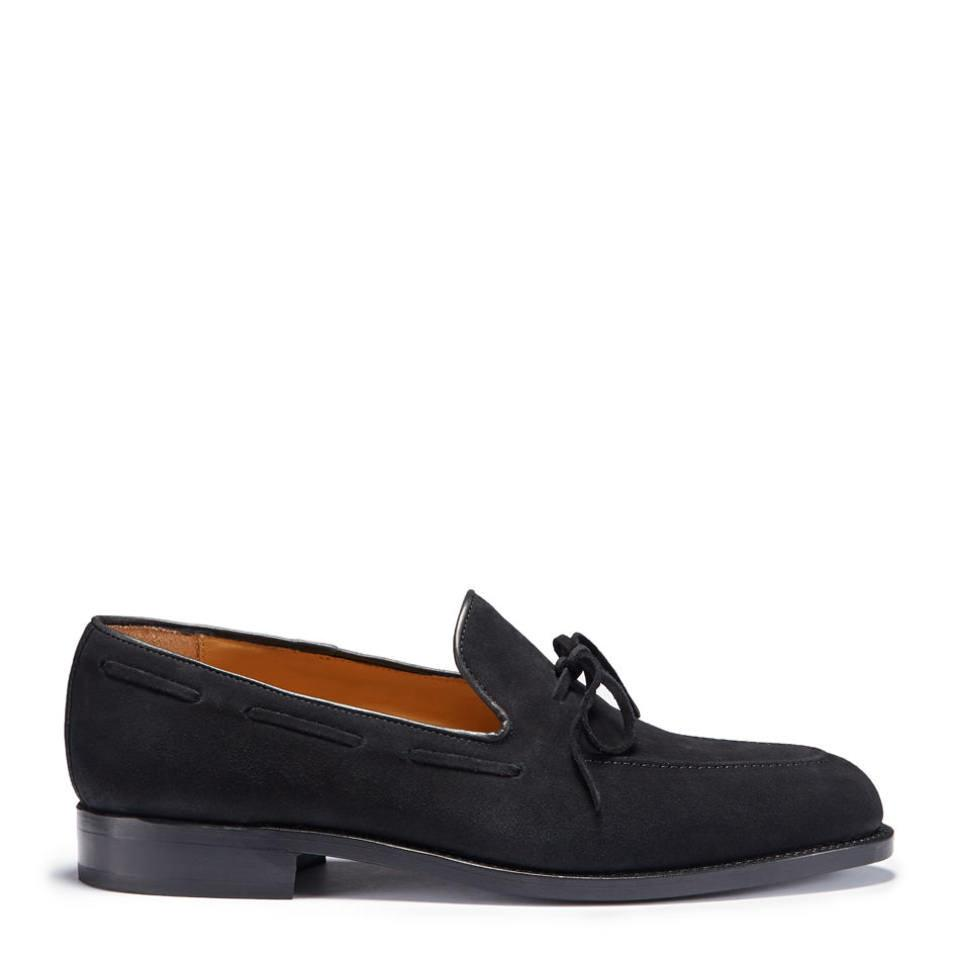 Laced Welted Loafers Black Suede Side On