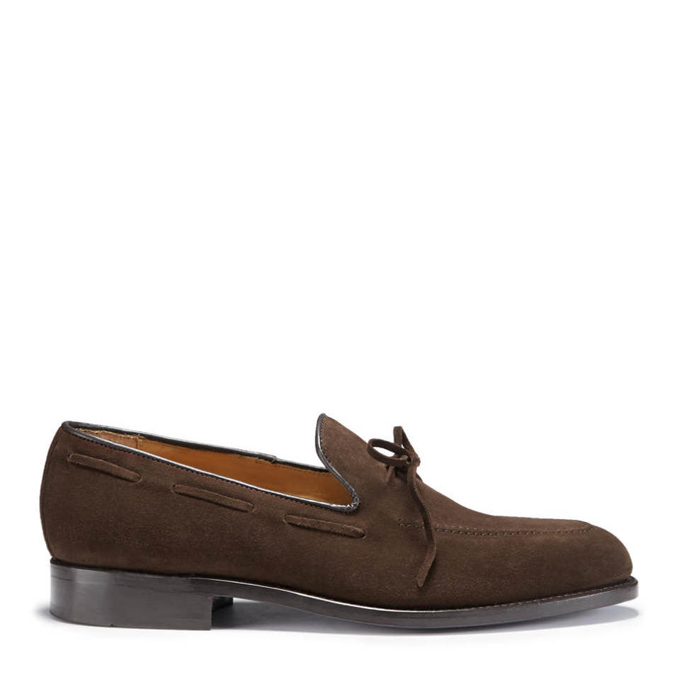 Laced Loafers, Brown Suede, Goodyear Welted, Side On