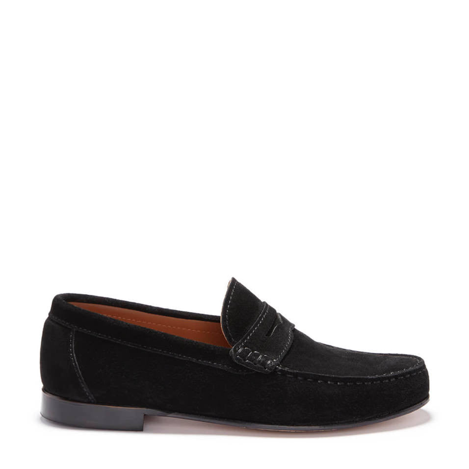 Black Suede, Penny Loafers, Leather Sole Side