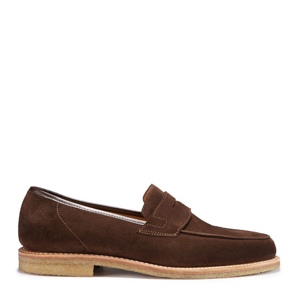 Penny Loafers, Brown Suede, Crepe Rubber Sole, Side