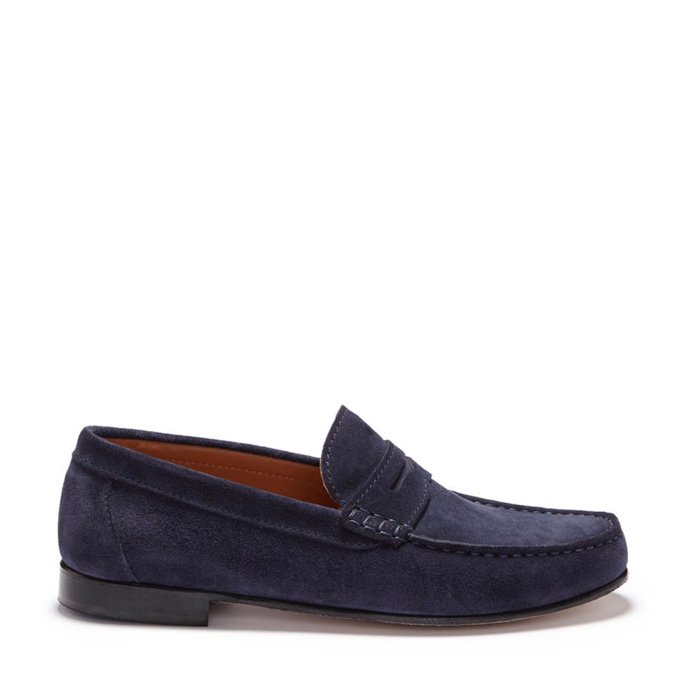Navy Suede, Penny Loafers, Leather Sole Side