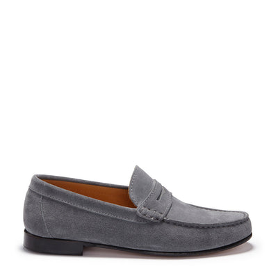 Slate Grey Suede, Penny Loafers, Leather Sole