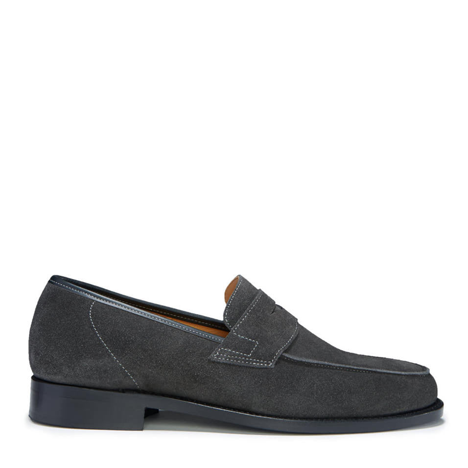 Slate Grey Suede Loafers, Welted Leather Sole
